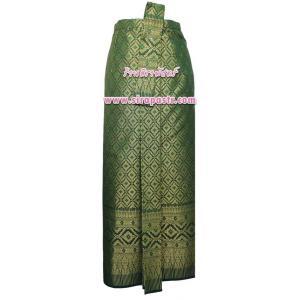 """ผ้าถุงป้าย-หน้านาง N3-1 สีเขียว (เอวใส่ได้ถึง 34"""") *แบบสำเร็จรูป-รายละเอียดตามหน้าสินค้า"""