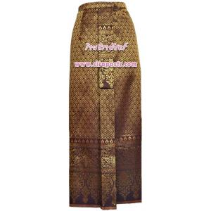 ผ้าถุงป้าย-หน้านาง NPA-7 สีน้ำตาลทอง (เอวใส่ได้ถึง 27 นิ้ว) *แบบสำเร็จรูป-รายละเอียดตามหน้าสินค้า