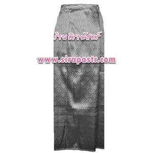 """ผ้าถุงป้ายข้าง-สีเทาดำ N-2 (เอวใส่ได้ถึง 34"""") *รายละเอียดสินค้าในหน้าฯ (สินค้าลดราคา)"""