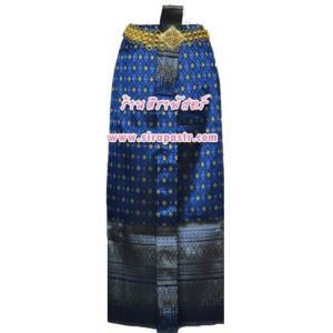 ผ้าถุงป้าย-หน้านาง BM-1 สีน้ำเงิน (เอวใส่ได้ถึง 30 นิ้ว) *แบบสำเร็จรูป-รายละเอียดตามหน้าสินค้า