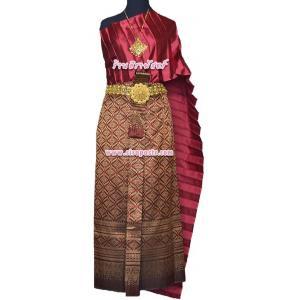 """ชุดไทย A1 (สไบโบราณ+ผ้าถุงฯแบบสำเร็จรูป-เอวใส่ได้ถึง 28"""") *รายละเอียดในหน้าสินค้า)"""