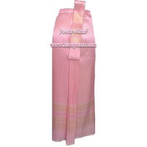 ผ้าถุงป้าย-หน้านาง N4-1A สีชมพู (เอวใส่ได้ถึง 30 นิ้ว) *แบบสำเร็จรูป-รายละเอียดตามหน้าสินค้า