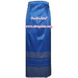 """ผ้าถุงป้ายข้าง TC4 (เอวใส่ได้ถึง 32"""") สีฟ้าเข้ม *ตรวจสอบรายละเอียดในภาพ"""