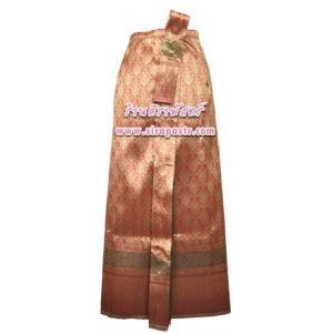 ผ้าถุงป้าย-หน้านาง B1-9 สีส้ม (เอวใส่ได้ถึง 28 นิ้ว) *แบบสำเร็จรูป-รายละเอียดตามหน้าสินค้า