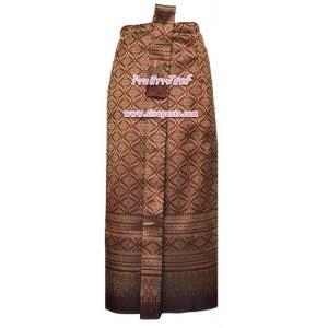 ผ้าถุงป้าย-หน้านาง B5-1 สีเลือดนก 1 (เอวใส่ได้ถึง 28 นิ้ว) *แบบสำเร็จรูป-รายละเอียดตามหน้าสินค้า