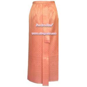 ผ้าถุงป้าย-หน้านาง N5-1A สีส้ม (เอวใส่ได้ถึง 28 นิ้ว) *แบบสำเร็จรูป-รายละเอียดตามหน้าสินค้า