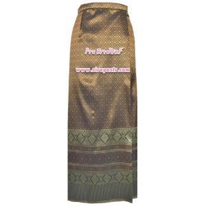 """ผ้าถุงป้ายข้าง สีน้ำตาล TC7 (เอวใส่ได้ถึง 28"""") *รายละเอียดสินค้าในหน้าฯ"""