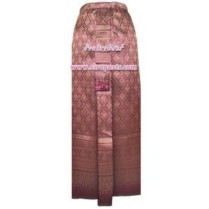 ผ้าถุงป้าย-หน้านาง B1-1 สีชมพูเข้ม (เอวใส่ได้ถึง 28 นิ้ว) *แบบสำเร็จรูป-รายละเอียดตามหน้าสินค้า