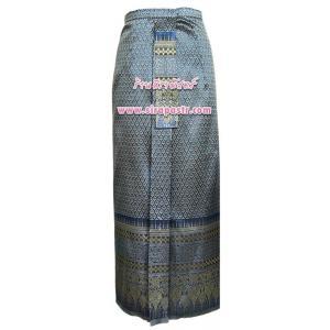 ผ้าถุงป้าย-หน้านาง NPA-6 สีน้ำเงิน (เอวใส่ได้ถึง 32 นิ้ว) *แบบสำเร็จรูป-รายละเอียดตามหน้าสินค้า