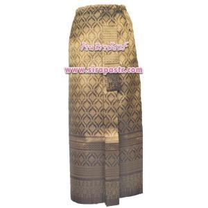 """ผ้าถุงป้าย-หน้านาง A1-4A สีทองขมิ้น (เอวใส่ได้ถึง 25""""-31""""/44"""") *แบบสำเร็จรูป-รายละเอียดตามหน้าสินค้า"""