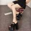 รองเท้าส้นสูงแบบสวมส้นหนาสีขาว/ดำ ไซต์ 34-38 thumbnail 3