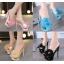 รองเท้าส้นสูงแบบสวมสีชมพู/ดำ/ฟ้า/ครีม ไซต์ 34-40 thumbnail 1