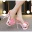 รองเท้าส้นสูงแบบสวมสีชมพู/ดำ/ฟ้า/ครีม ไซต์ 34-40 thumbnail 3