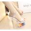 รองเท้าส้นแก้วใสแต่งดอกไม้ผ้าด้านในส้นพื้นสีดำ/ขาว ไซต์ 34-39 thumbnail 5