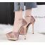 รองเท้าส้นสูงเกร็ดเพชรแน่นสีดำ/ขาว/เงิน/ทอง/แชมเปน ไซต์ 34-39 thumbnail 3