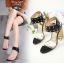 รองเท้าส้นสูงส้นหนาสีดำ/ขาว ไซต์ 34-40 thumbnail 3