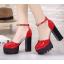 รองเท้าส้นสูงส้นหนาสีแดง/ดำ/ครีม ไซต์ 34-39 thumbnail 2