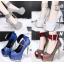 รองเท้าส้นสูงเปิดหน้าสีน้ำเงิน/แดง/เทา/เงิน (สามารถถอดสายรัดข้อออกได้) thumbnail 1