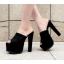 รองเท้าส้นสูงแบบสวมสีดำเสริมหน้าเยอะเดินสบาย ไซต์ 34-38 thumbnail 4