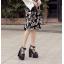 รองเท้าส้นสูงส้นหนาสีดำ/ขาว ไซต์ 34-39 thumbnail 3