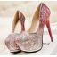 รองเท้าส้นสูงคัดชูเกร็ดเพชรสีแดง/ม่วง/น้ำเงิน ไซต์ 34-39 thumbnail 2