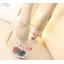 รองเท้าส้นแก้วใสแต่งดอกไม้ผ้าด้านในส้นพื้นสีดำ/ขาว ไซต์ 34-39 thumbnail 4