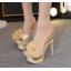 รองเท้าส้นสูงแบบสวมสีชมพู/ดำ/ฟ้า/ครีม ไซต์ 34-40 thumbnail 6