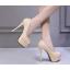 รองเท้าส้นสูงคัดชูเปิดหน้าสีนู๊ด/ดำ ไซต์ 34-39 thumbnail 3