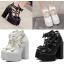 รองเท้าส้นสูงส้นหนาสีดำ/ขาว ไซต์ 34-39 thumbnail 1