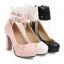 รองเท้าส้นสูงคัดชูสีชมพู/ดำ/ขาว ไซต์ 34-43 thumbnail 7