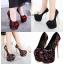 รองเท้าส้นสูง ไซต์ 34-40 สีดำ สีแดง สีผสม thumbnail 1