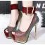 รองเท้าส้นสูงเปิดหน้าสีน้ำเงิน/แดง/เทา/เงิน (สามารถถอดสายรัดข้อออกได้) thumbnail 2