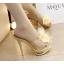 รองเท้าส้นสูงแบบสวมแต่งกุหลาบผ้าสีดำ /ทอง ไซต์ 34-38 thumbnail 2