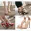 รองเท้าส้นสูงรัดข้อสายคาดหน้า 3 เส้น สีแดง/ดำ/ครีม ไซต์ 35-40 thumbnail 1