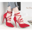 รองเท้าส้นสูงปลายแหลมสายผูกไขว้หน้าสีแดง/ดำ/เทา/เขียว ไซต์ 34-39 thumbnail 2