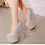 รองเท้าส้นสูงเก็ดกลิ๊กเตอร์สีฟ้า/ม่วง/ทอง/ชม ไซต์ 34-43 thumbnail 4