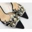 รองเท้าส้นสูงปลายแหลมแต่งมุขสวยหรูใส่ออกงานได้เลย สีครีม/ดำ ไซต์ 34-38 thumbnail 6