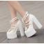รองเท้าส้นสูงส้นหนาสีดำ/ขาว ไซต์ 34-39 thumbnail 6