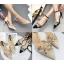 รองเท้าส้นสูงปลายแหลมแต่งมุขสวยหรูใส่ออกงานได้เลย สีครีม/ดำ ไซต์ 34-38 thumbnail 1