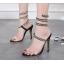 รองเท้าส้นสูงสายพันรอบขาสวยเก๋สีดำ ไซต์ 35-40 thumbnail 1
