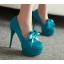 รองเท้าส้นสูงคัดชูแต่งโบว์ผ้าสีแดง/ดำ/ฟ้า/ชมพู ไซต์ 34-43 thumbnail 3