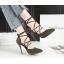 รองเท้าส้นสูงปลายแหลมสายผูกไขว้หน้าสีแดง/ดำ/เทา/เขียว ไซต์ 34-39 thumbnail 4