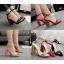 รองเท้าส้นสูงแต่งคริสตัลเม็ดเล็กสวยหรูสีดำ/แดง/ครีม ไซต์ 35-40 thumbnail 1
