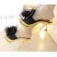 รองเท้าส้นสูงแบบสวมแต่งกุหลาบผ้าสีดำ /ทอง ไซต์ 34-38 thumbnail 5