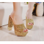 รองเท้าส้นสูงกากเพชรหรูสีทอง/เงิน/ดำ/ขาว ไซต์ 34-39 thumbnail 2