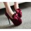 รองเท้าส้นสูงคัดชูแต่งโบว์ผ้าสีแดง/ดำ/ฟ้า/ชมพู ไซต์ 34-43 thumbnail 2