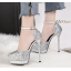 รองเท้าส้นสูงเกร็ดเพชรแน่นสีดำ/ขาว/เงิน/ทอง/แชมเปน ไซต์ 34-39 thumbnail 8