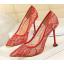 รองเท้าส้นสูงปลายแหลมผ้าลุกไม้เก็บทรงสวยเป๊ะสีดำ/ขาว/ครีม/ชมพู/ม่วง/แดง ไซต์ 34-40 thumbnail 5