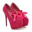 รองเท้าส้นสูงคัดชูแต่งโบว์ผ้าสีแดง/ดำ/ฟ้า/ชมพู ไซต์ 34-43 thumbnail 4