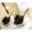 รองเท้าส้นสูงแบบสวมแต่งกุหลาบผ้าสีดำ /ทอง ไซต์ 34-38 thumbnail 9